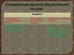 Направления русской общественной мысли: Западники Отношение к преобразованиям