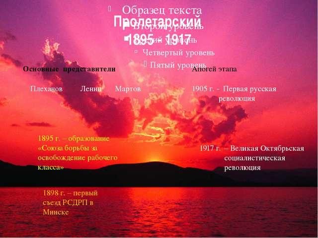 Пролетарский 1895 - 1917 Основные представители Плеханов 1895 г. – образовани...