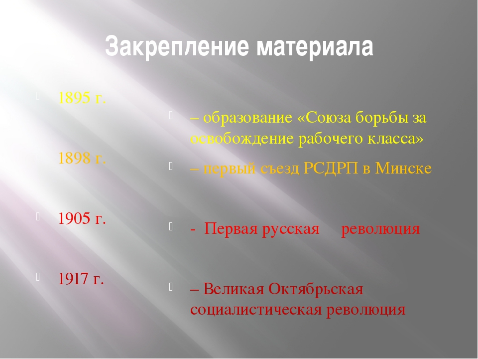 Закрепление материала 1895 г. 1898 г. 1905 г. 1917 г. – образование «Союза бо...