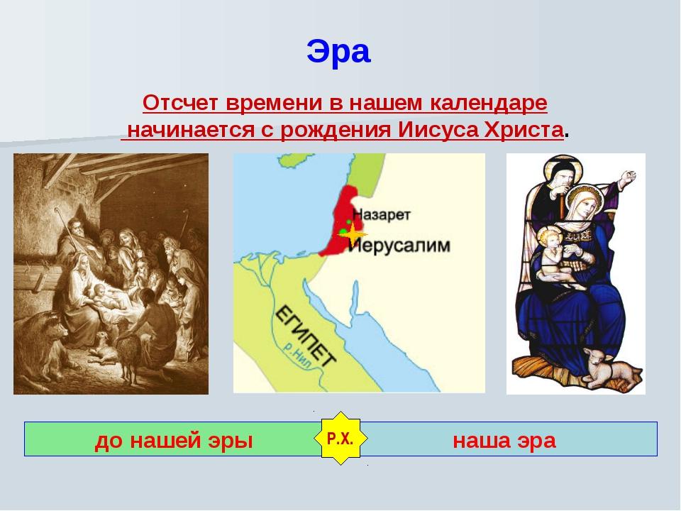 Эра Отсчет времени в нашем календаре начинается с рождения Иисуса Христа. до...