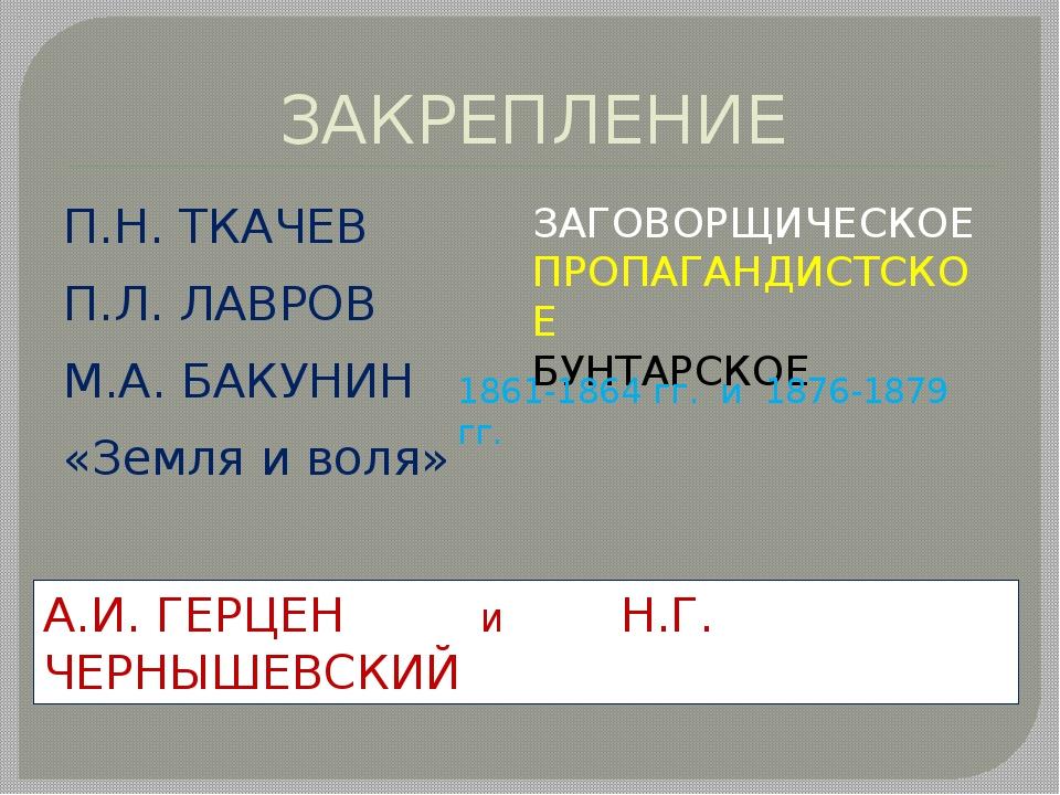 ЗАКРЕПЛЕНИЕ П.Н. ТКАЧЕВ П.Л. ЛАВРОВ М.А. БАКУНИН «Земля и воля» Кто стояли у...