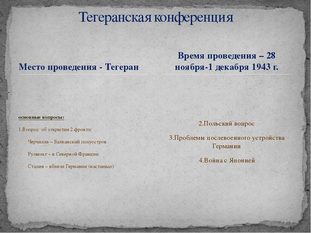 Место проведения - Тегеран основные вопросы: 1.Вопрос об открытии 2 фронта: Ч...