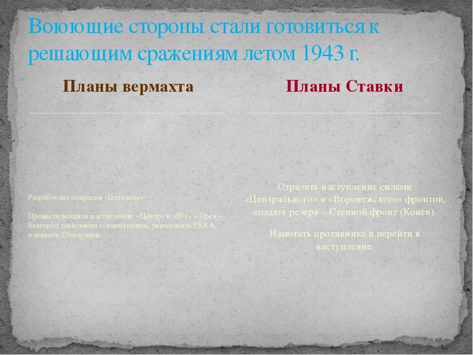 Планы вермахта Разработана операция «Цитадель»: Провести мощное наступление «...