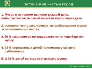 Астана-мой чистый город! Астана. Ноябрь 2012 г. Мусор в основном выносят каж