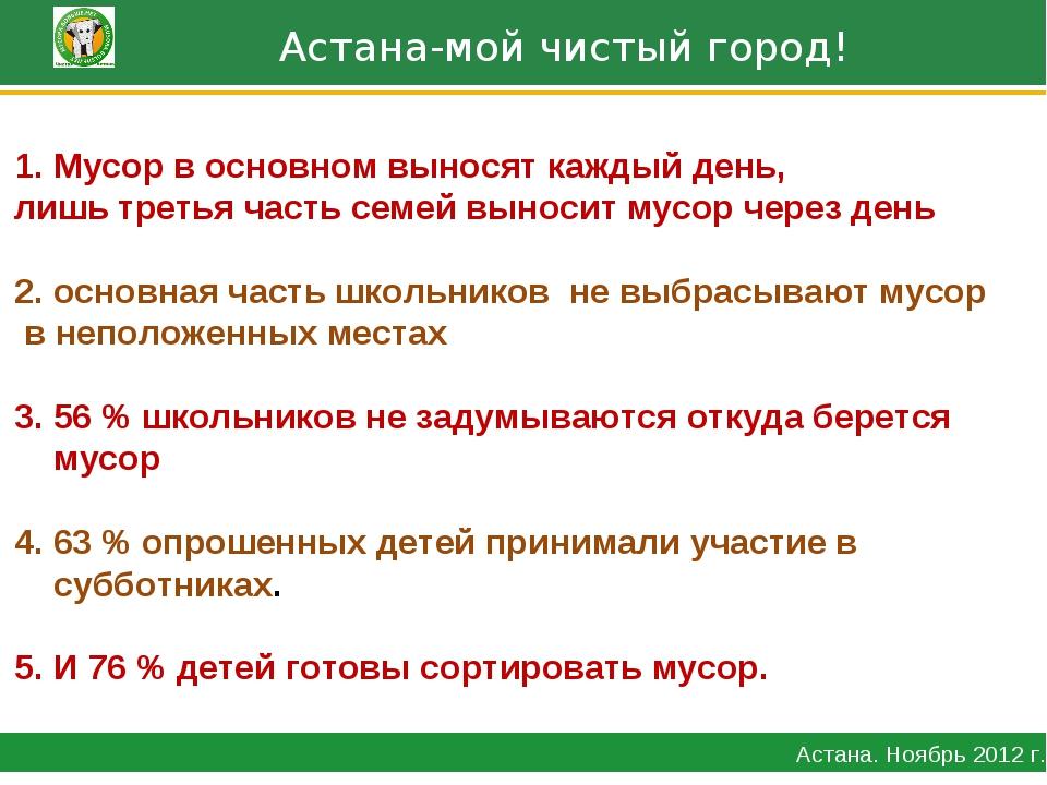Астана-мой чистый город! Астана. Ноябрь 2012 г. Мусор в основном выносят каж...