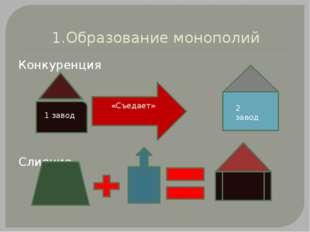 1.Образование монополий Конкуренция Слияние 1 завод «Съедает» 2 завод