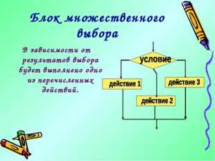 Блок множественного выбора В зависимости от результатов выбора будет выполнен