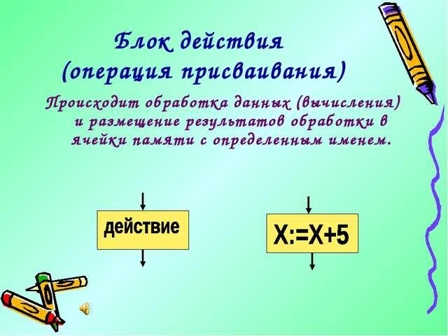 Блок действия (операция присваивания) Происходит обработка данных (вычисления...