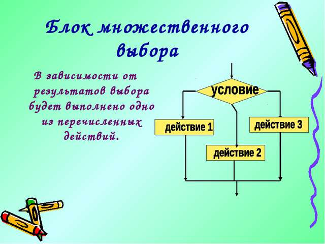 Блок множественного выбора В зависимости от результатов выбора будет выполнен...