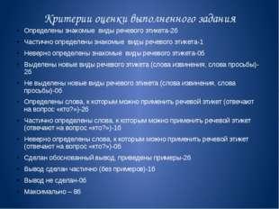 Критерии оценки выполненного задания Определены знакомые виды речевого этикет