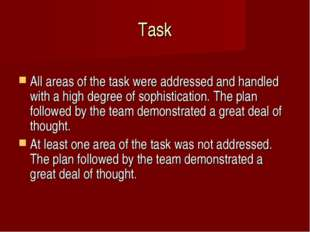 Task 	 All areas of the task were addressed and handled with a high degree of