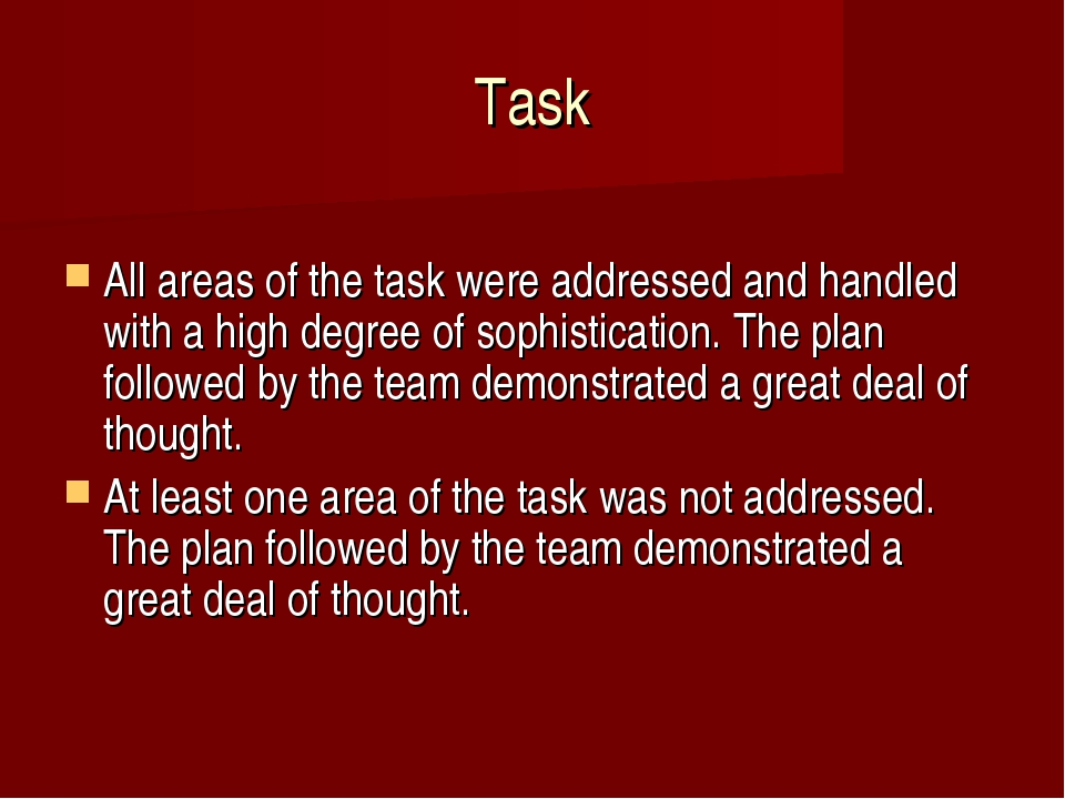 Task 	 All areas of the task were addressed and handled with a high degree of...