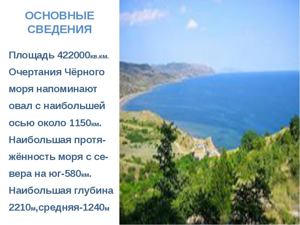 ОСНОВНЫЕ СВЕДЕНИЯ Площадь 422000кв.км. Очертания Чёрного моря напоминают овал...