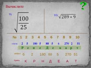 Вычислите 9) 10) ответы 2 5 180 5 88 5 6 270 2 51 Р е н е Д е к а р т № 1 2
