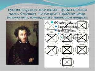 Пушкин предложил свой вариант формы арабских чисел. Он решил, что все десять