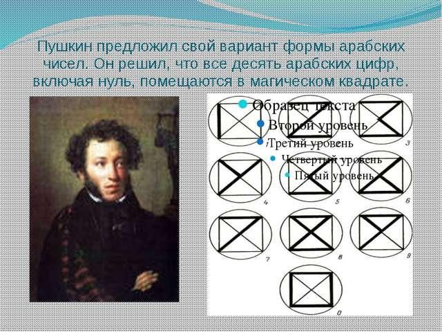 Пушкин предложил свой вариант формы арабских чисел. Он решил, что все десять...