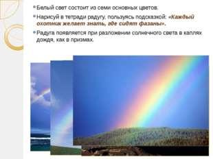 Белый свет состоит из семи основных цветов. Нарисуй в тетради радугу, пользуя