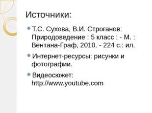 Источники: Т.С. Сухова, В.И. Строганов: Природоведение : 5 класс : - М. : Вен