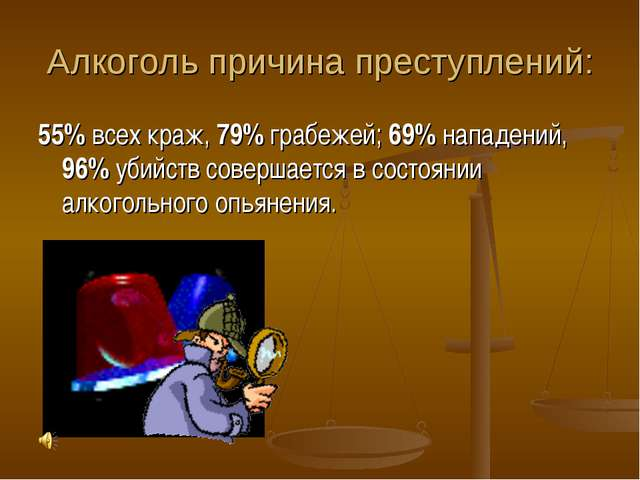 Алкоголь причина преступлений: 55% всех краж, 79% грабежей; 69% нападений, 96...