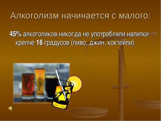 Алкоголизм начинается с малого: 45% алкоголиков никогда не употребляли напитк...