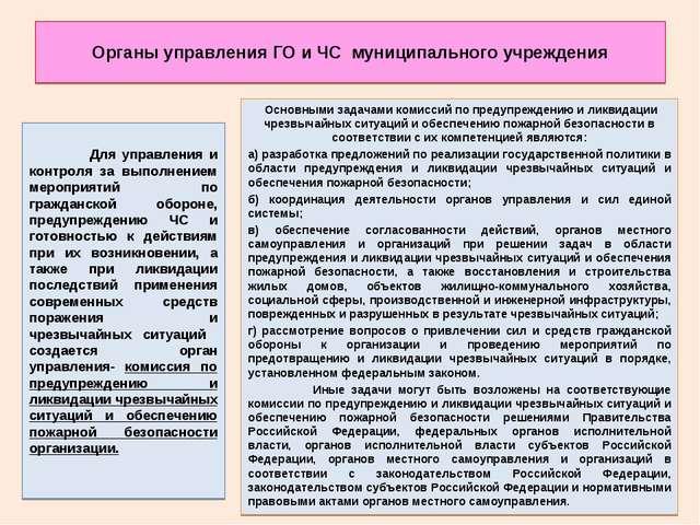 Органы управления ГО и ЧС муниципального учреждения  Для управления и контро...