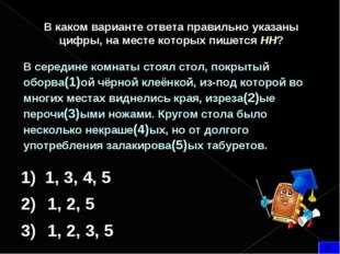 В каком варианте ответа правильно указаны цифры, на месте которых пишется НН?