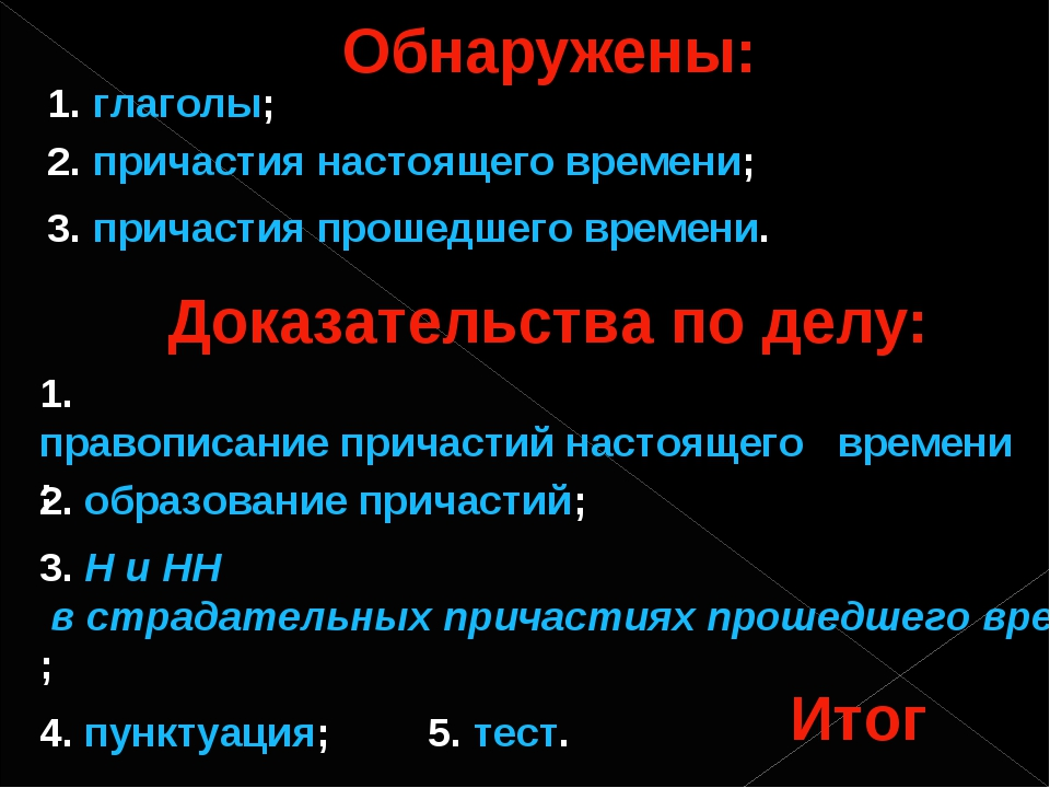 Обнаружены: 1. глаголы; 2. причастия настоящего времени; 3. причастия прошедш...