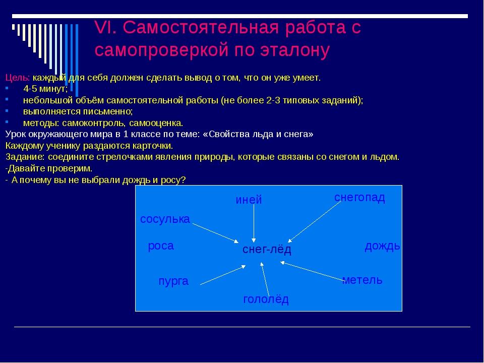 VI. Самостоятельная работа с самопроверкой по эталону Цель: каждый для себя д...