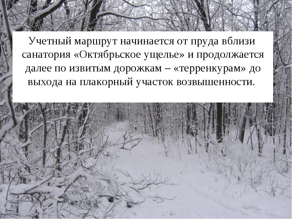 Учетный маршрут начинается от пруда вблизи санатория «Октябрьское ущелье» и п...