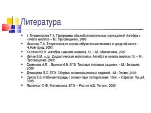 Литература 1. Бурмистрова Т.А. Программы общеобразовательных учреждений Алгеб