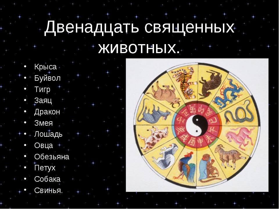 Двенадцать священных животных. Крыса Буйвол Тигр Заяц Дракон Змея Лошадь Овца...