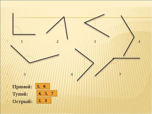 1 2 3 4 5 6 7 Прямой: Тупой: Острый: 1, 6 4, 5, 7 2, 3