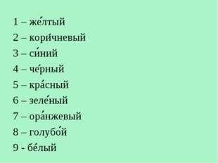 1 – желтый 2 – коричневый 3 – синий 4 – черный 5 – красный 6 – зеленый 7 – ор