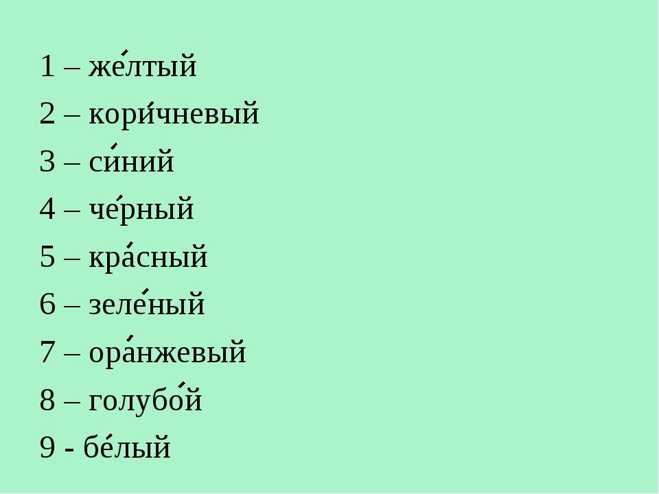 1 – желтый 2 – коричневый 3 – синий 4 – черный 5 – красный 6 – зеленый 7 – ор...