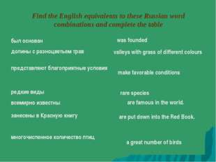 Find the English equivalents to these Russian word combinations and complete