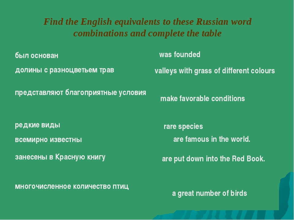 Find the English equivalents to these Russian word combinations and complete...