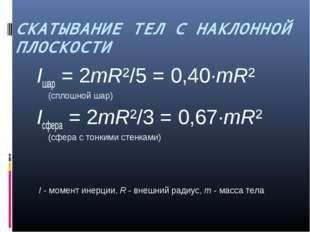 СКАТЫВАНИЕ ТЕЛ С НАКЛОННОЙ ПЛОСКОСТИ Iшар = 2mR²/5 = 0,40·mR² (сплошной шар)