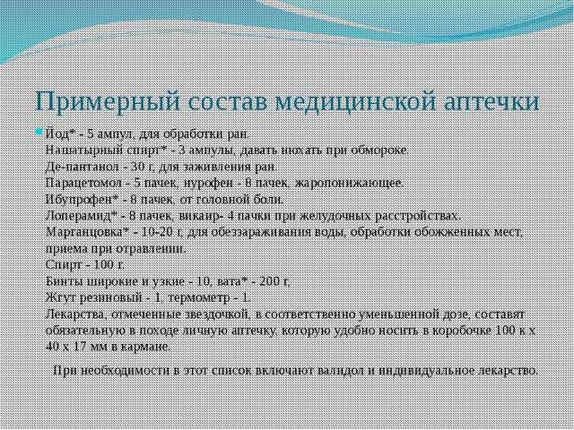 Примерный состав медицинской аптечки Йод* - 5 ампул, для обработки ран. Нашат...