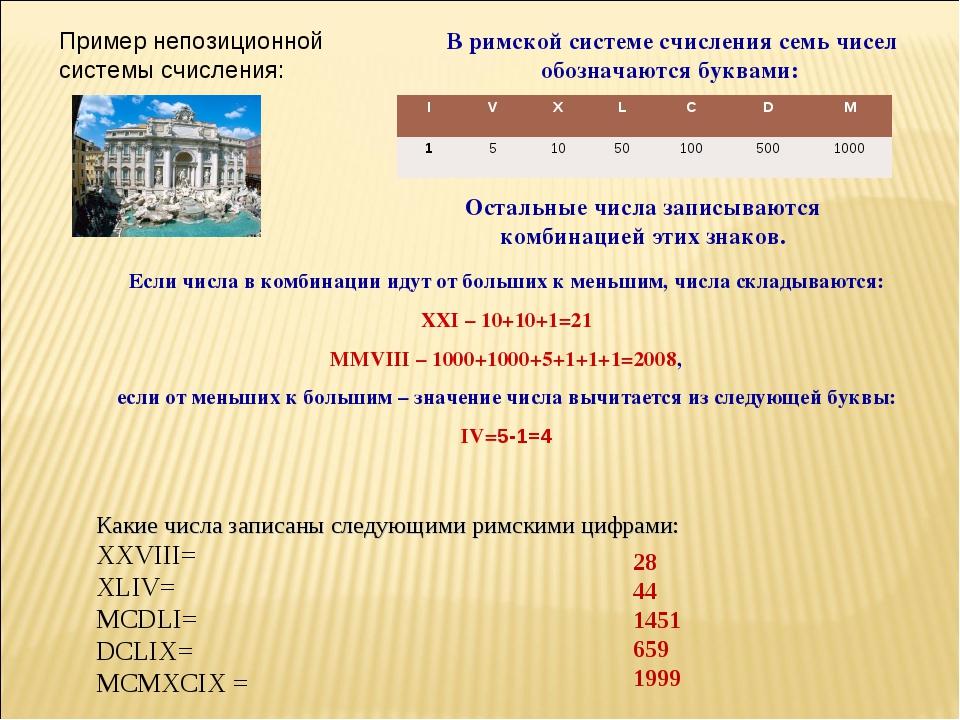 В римской системе счисления семь чисел обозначаются буквами: Остальные числа...