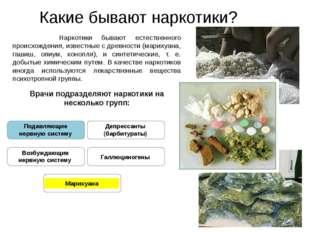 Какие бывают наркотики? Наркотики бывают естественного происхождения, известн