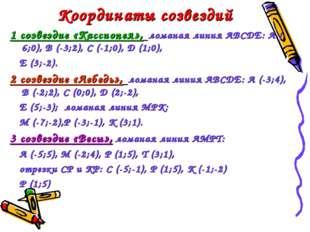 Координаты созвездий 1 созвездие «Кассиопея», ломаная линия АВСДЕ: А (-6;0),