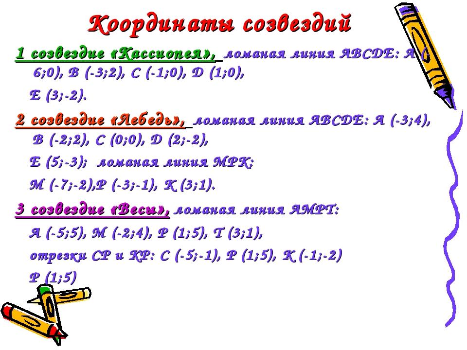 Координаты созвездий 1 созвездие «Кассиопея», ломаная линия АВСДЕ: А (-6;0),...