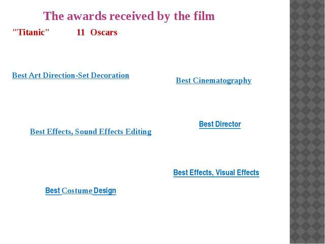 """The awards received by the film """"Titanic"""" won 11 Oscars in 1997, including Be..."""