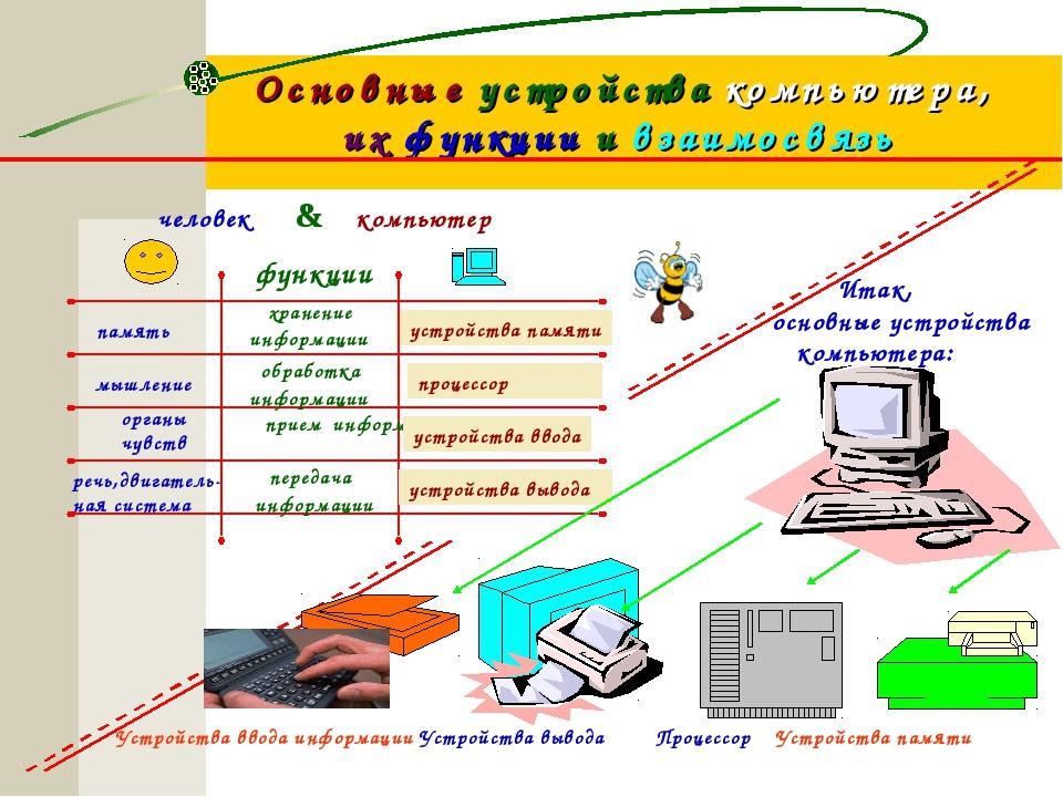 Основные устройства компьютера, их функции и взаимосвязь человек компьютер &...