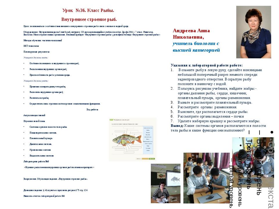 Андреева Анна Николаевна, учитель биологии с высшей категорией Урок №36. Клас...