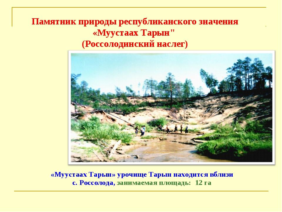 «Муустаах Тарын» урочище Тарын находится вблизи с. Россолода, занимаемая площ...
