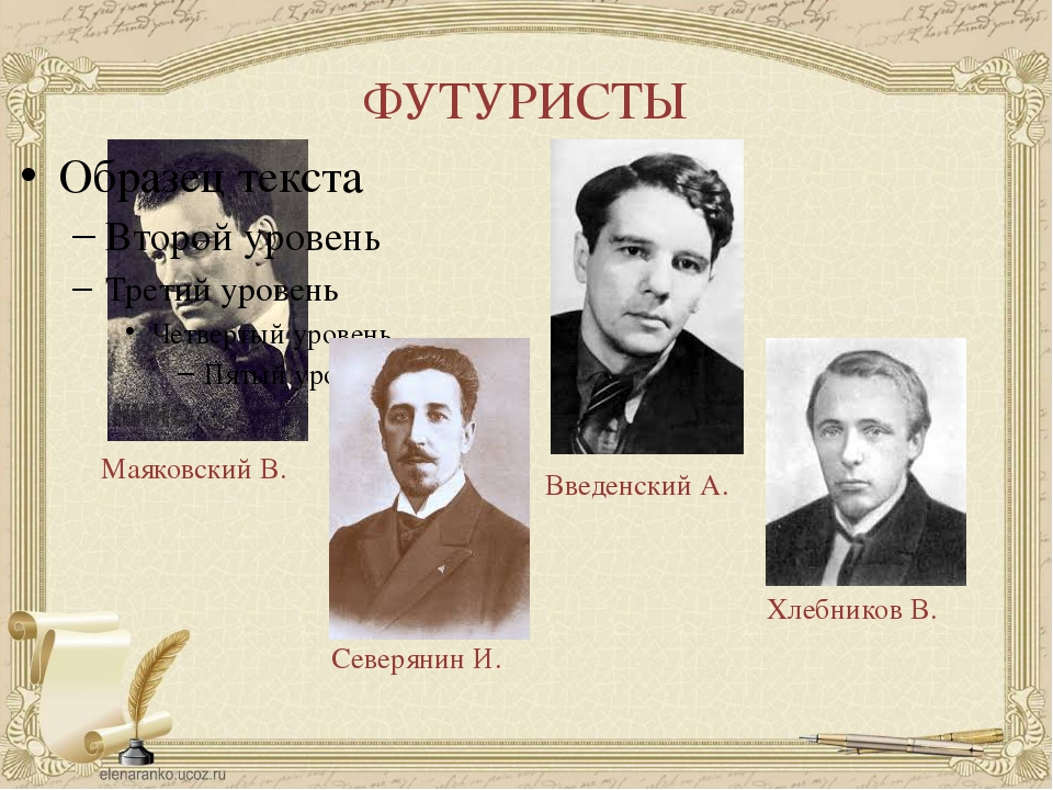 ФУТУРИСТЫ Маяковский В. Северянин И. Введенский А. Хлебников В.