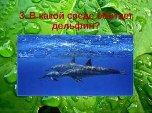 3. В какой среде обитает дельфин? В наземно-воздушной В почвенной В водной В