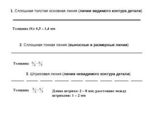 1. Сплошная толстая основная линия (линии видимого контура детали) Толщина (S