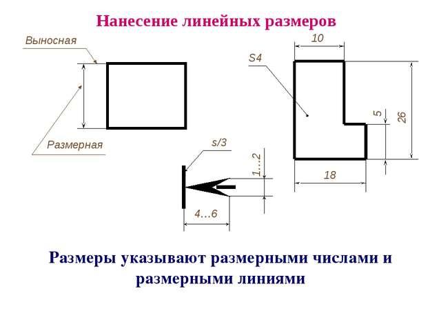Размеры указывают размерными числами и размерными линиями Нанесение линейных...